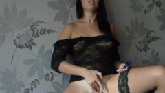 Perfect Brunette Stroking Her Pussy For Real Orgasm