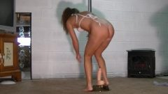 Titillating Brunette Pole Dances And Rides Rubber Toy As Husband Stroke's Off And Watches