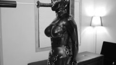 Attractive BDSM Latex Girl's Muffled Moans As She Jizzes While Eating Dick A Huge Sextoy