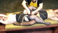 3361 Slaves Roped Up Together In Their Masters Workshop For Extreme Orgasms!