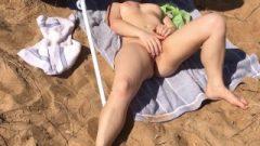 Public Beach Masturbation And A Huge Cum Shot On My Butt